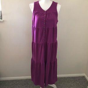 Athleta Drop In tiered midi dress purple Size XL